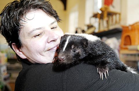 Staff member Sharon Wilkinson with Fleur the skunk