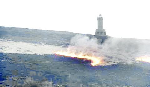 The fire near Darwen Tower. Photo: www.darwendays.co.uk