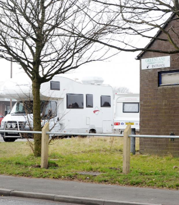 Caravans on Green Lane Community Centre car park