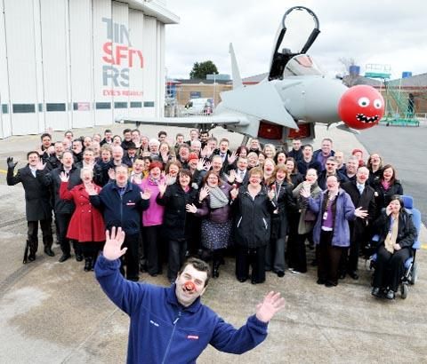 BAE aircraft fitter Alan Quinn with colleagues at Samlesbury