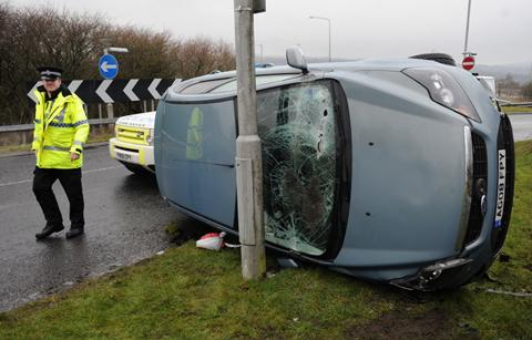 CRASH: Police at the scene near Junction 12