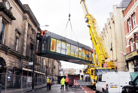 The bridge is removed from Blackburn Library
