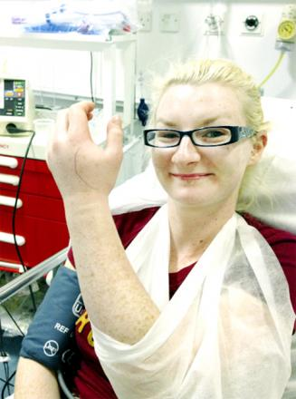 RECOVERING Sarah Bowker in hospital