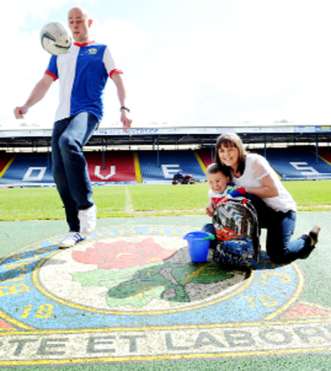 Ian Pearson with wife Michelle and son Joseph at Ewood Park