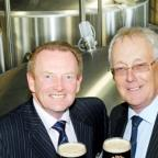 Moorhouses MD David Grant, left, and chairman Bill Parkinson toast the brewery's statistics