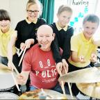 Jeff Rich with pupils (from left) Emily Johnson-Wade, Ria Kelly, Jack Farnworth and Rian Duckworth