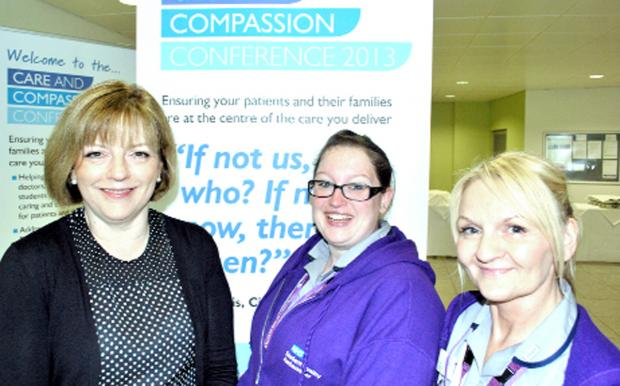 From left, England's chief nursing officer Jane Cummings, Danielle Gillett, and fellow student Gill Neary, at the conference