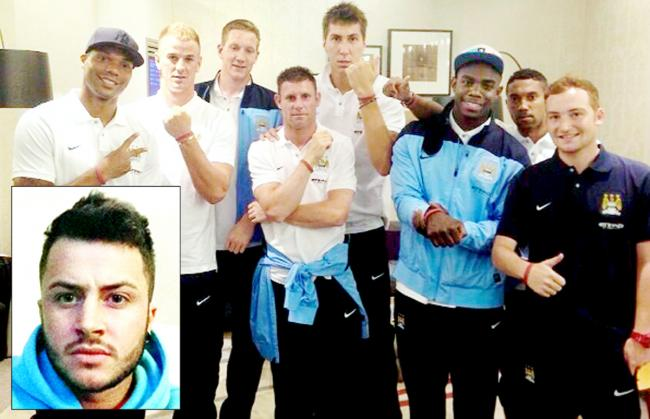 Manchester City stars, including Micah Richards, Costel Pantilimon, James Milner and Joe Hart show off their tribute wristbands for Jake Harris (inset)