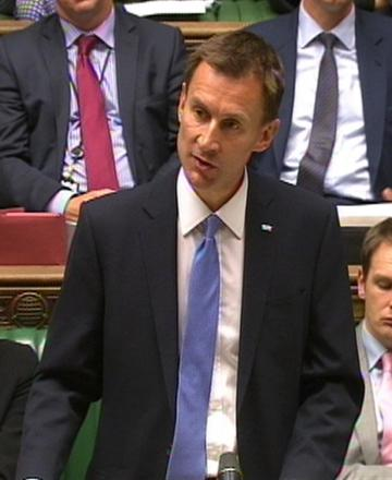 Health Secretary Jeremy Hunt in the Commons today