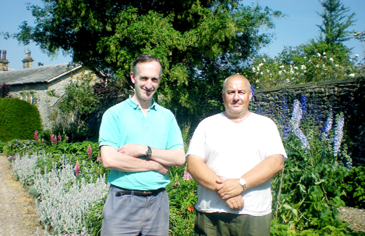 Downham Hall owner the Hon Ralph Assheton, left, and head gardener Ian Chadwick.