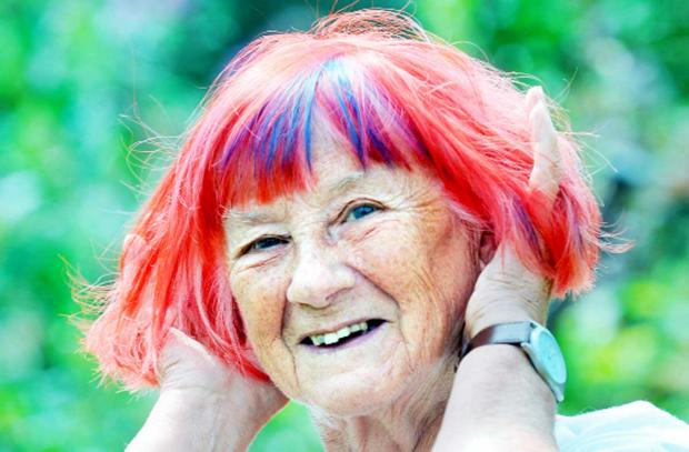 Joan Shaw shows off her new brightly-coloured locks
