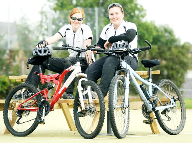 Ellie O'Donnell and Charlotte Brigden will cycle 127 miles