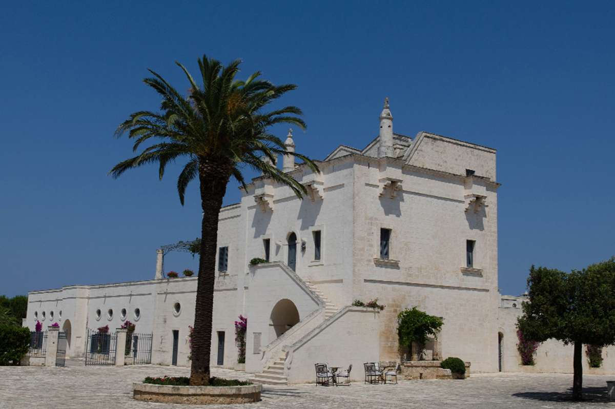 The historic Masseria San Domenico hotel. Below, one the region's estimated 66 million olive trees, regarded by locals as national monuments