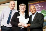 Andrew and Rachel Turner of Malkin Tower Farm receive their award from Satish Kumar