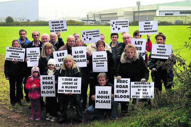 RACKET: Villagers protest outside RAF Brize Norton
