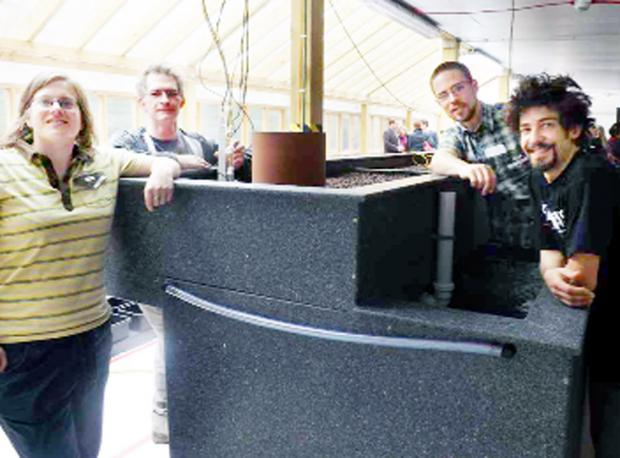 Aquaponics team, from left, Naomi Rosenberg, Gareth Coleman, Paulo Marini and Jeronimo Suaraez
