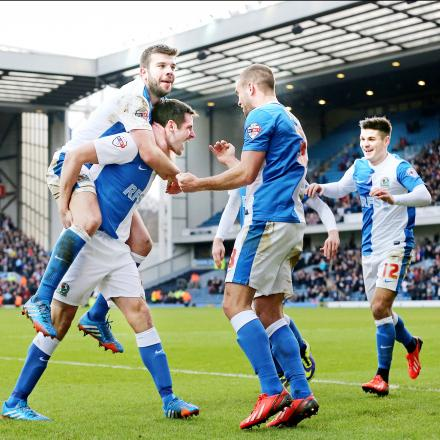 Rovers celebrate Scott Dann's equaliser against Manchester City at Ewood Park