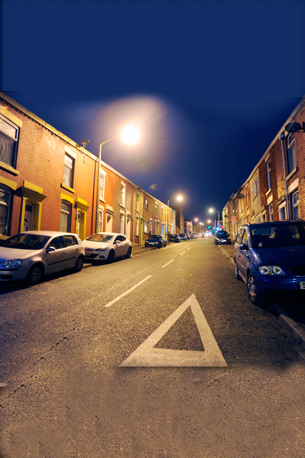 Earl Street in Blackburn under street lights
