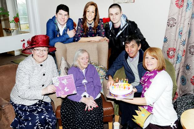 Rebecca with, from left, Hyndburn Mayor Coun Judith Addison and members of Rebecca's family, Ashley Bonsall, Emma Hornby, Connor Hornby, Colin Cooper and Mandy Atherton