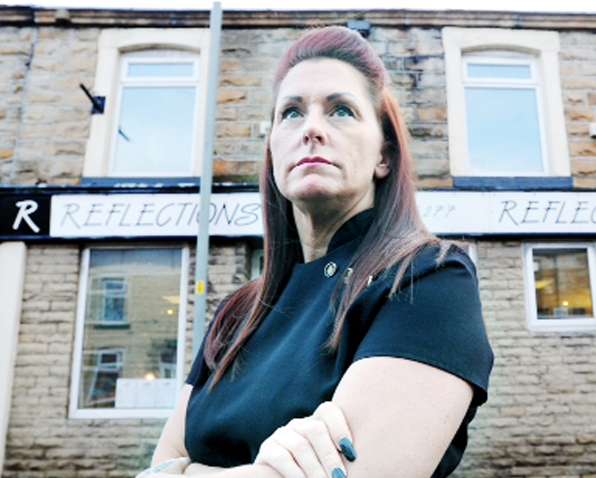 Gail Simpson from Reflections hairdressers on Gannow Lane, Burnley, which was broken into