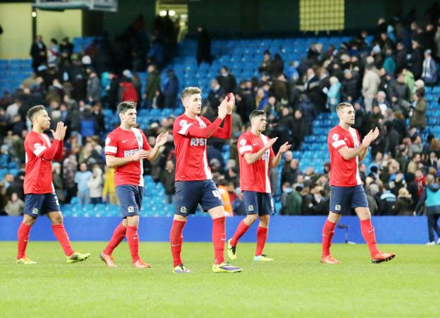 Lancashire Telegraph: Blackburn Rovers players show their appreciation to the travelling fans at Manchester City on Wednesday