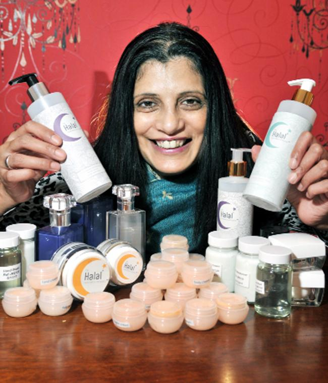 Salma Chaudry with some of her products