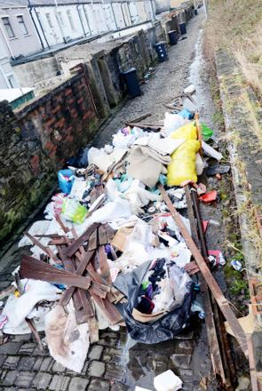 The rubbish tipped in the back alley near Whalley Road
