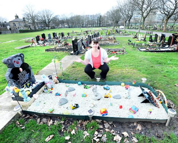 Lancashire Telegraph: Clare Frear has branded thieves 'heartless' for taking items from the grave of her baby son Jayden