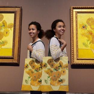A pair of Vincent Van Gogh's Sunflower paintings are on display in an exhibition at London's National Gallery