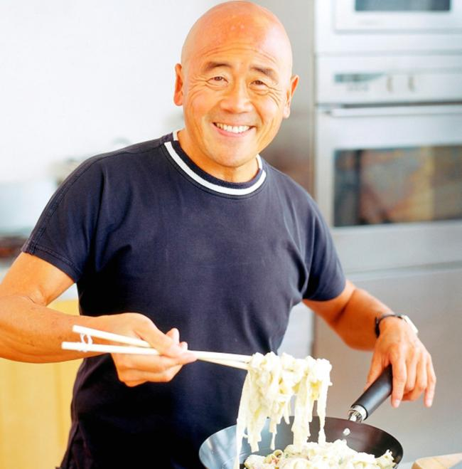 Ken Hom cooking up a delicious meal
