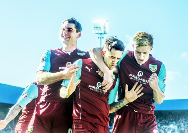 Lancashire Telegraph: Sam Vokes joins Scott Arfield in celebrating Danny Ings' opener on Saturday
