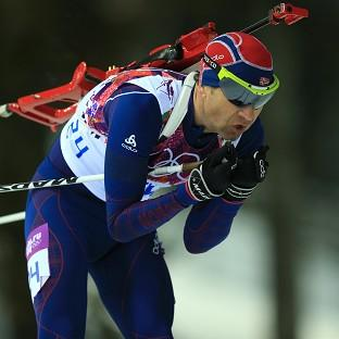Ole Einar Bjoerndalen finished fourth in the 12.5km biathlon pursuit
