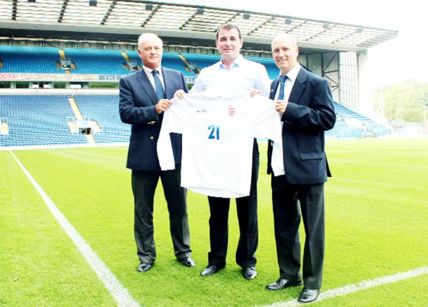 ESFA chief executive John Read, Blackburn Rovers manager Gary Bowyer and ESFA U18s manager, Andy Buckingham, a teacher at QEGS