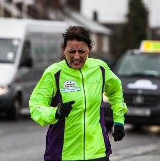 Davina Mcall broke down in tears as she finished her Sport Relief Challenge