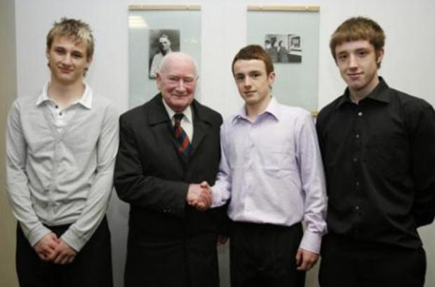 Sir Tom Finney meets members of the Kendal Town team, the football legend was club President