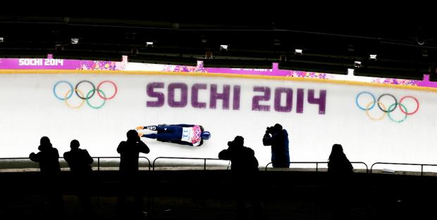 Kristan Bromley during his last slide in Sochi