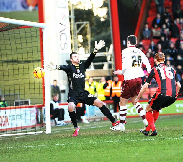 Keith Treacy scores for the Clarets at Bournemouth