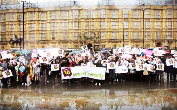 East Lancashire students were among those who gathered outside the Houses of Parliament