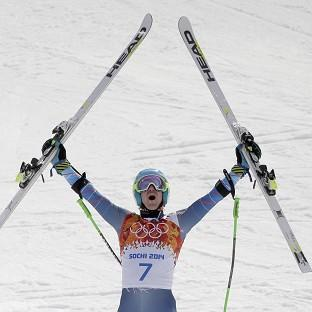 United States' Ted Ligety celebrates after winning gold (AP)