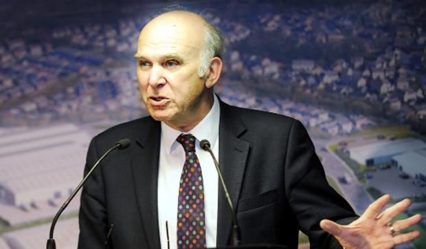 Business minister Vince Cable in Burnley yesterday