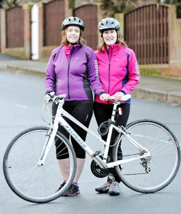 Getting ready for the challenge are Helen McCreadie and Michelle Entwistle. They will be    taking part in the Women V Cancer Ride The Night on May 31.