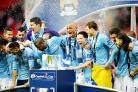 Manchester City celebrate their League Cup win