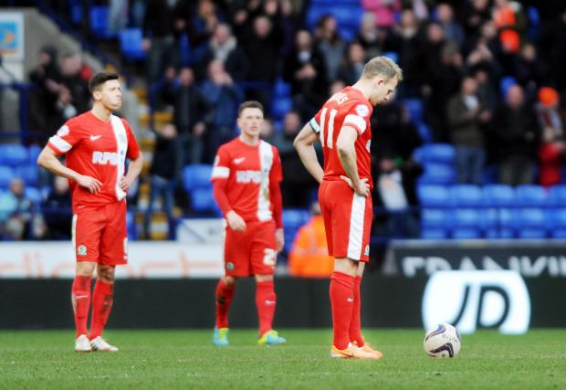Jordan Rhodes was left dejected after defeat at Bolton on Saturday