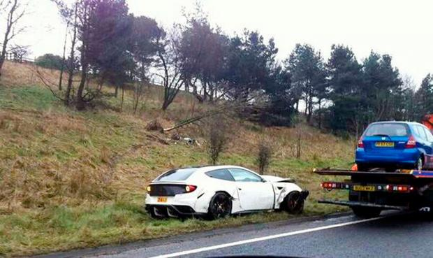 £230k Ferrari write-off after hitting tree near Haslingden