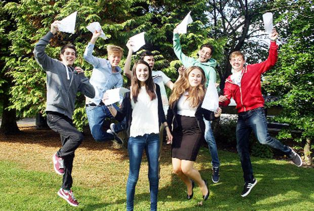 Pupils at St Augustine's in Billington celebrate their results