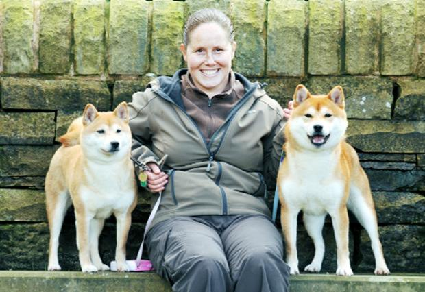 Angela Bell with her Japanese shiba inu dogs Tulsa, left, and Jenks