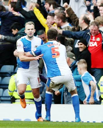 Jordan Rhodes celebrates his derby opener