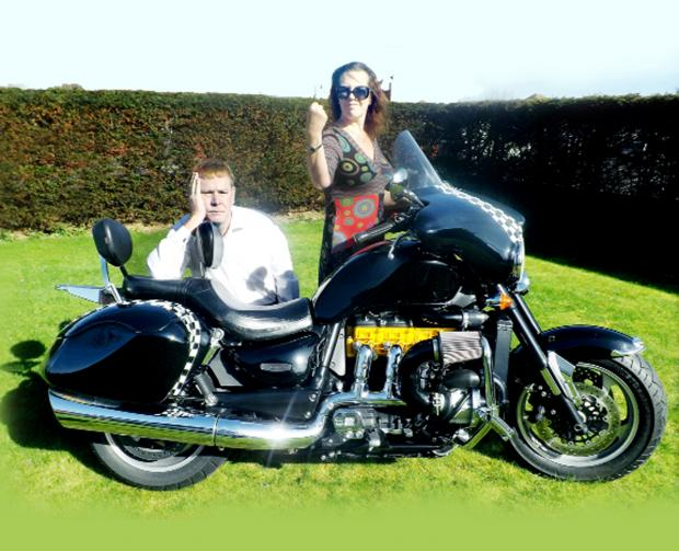 Lancashire Telegraph: Tony Raynor with wife Alison and the bike