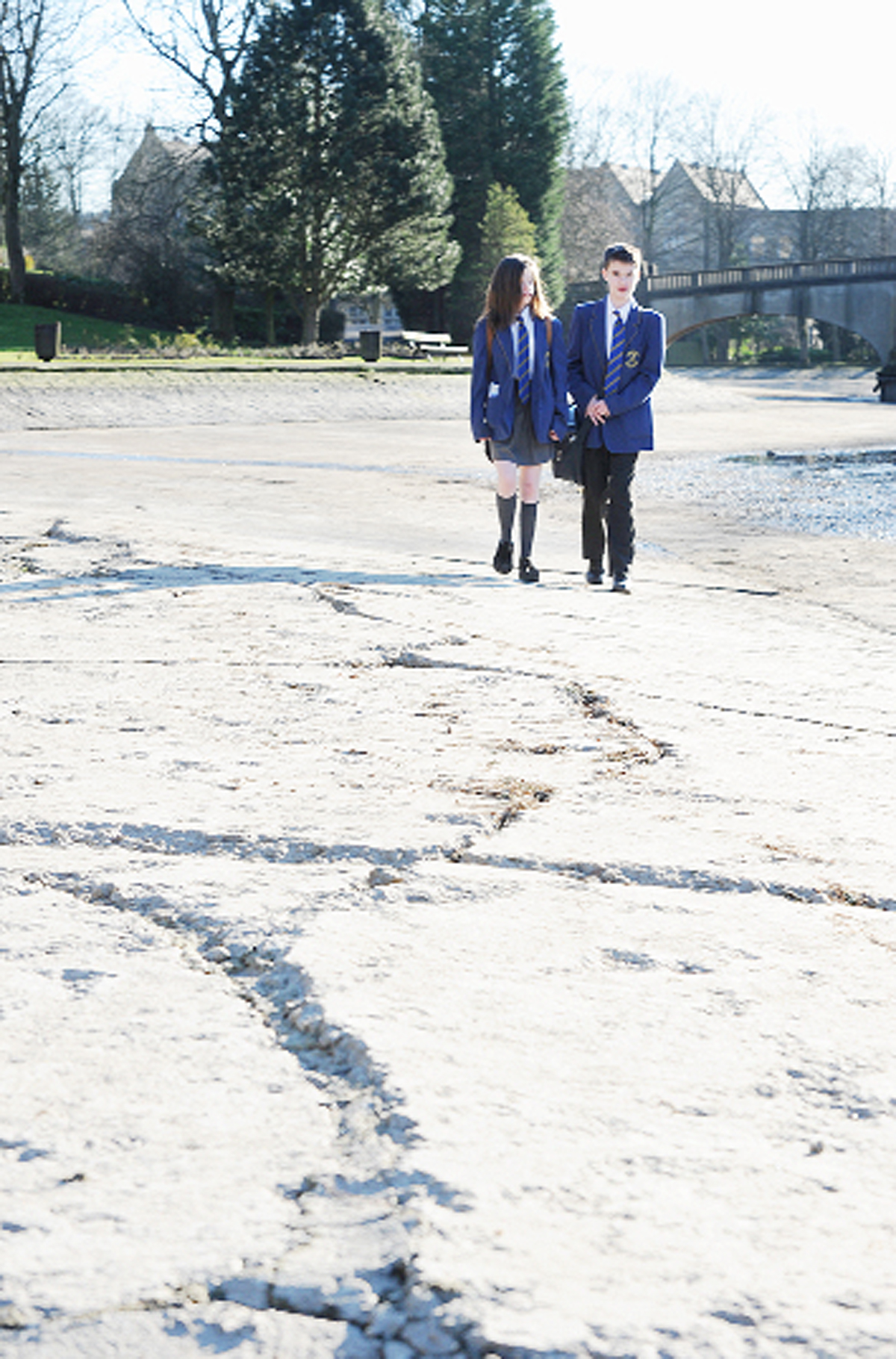 Burnley boating lake in park is drained for repairs