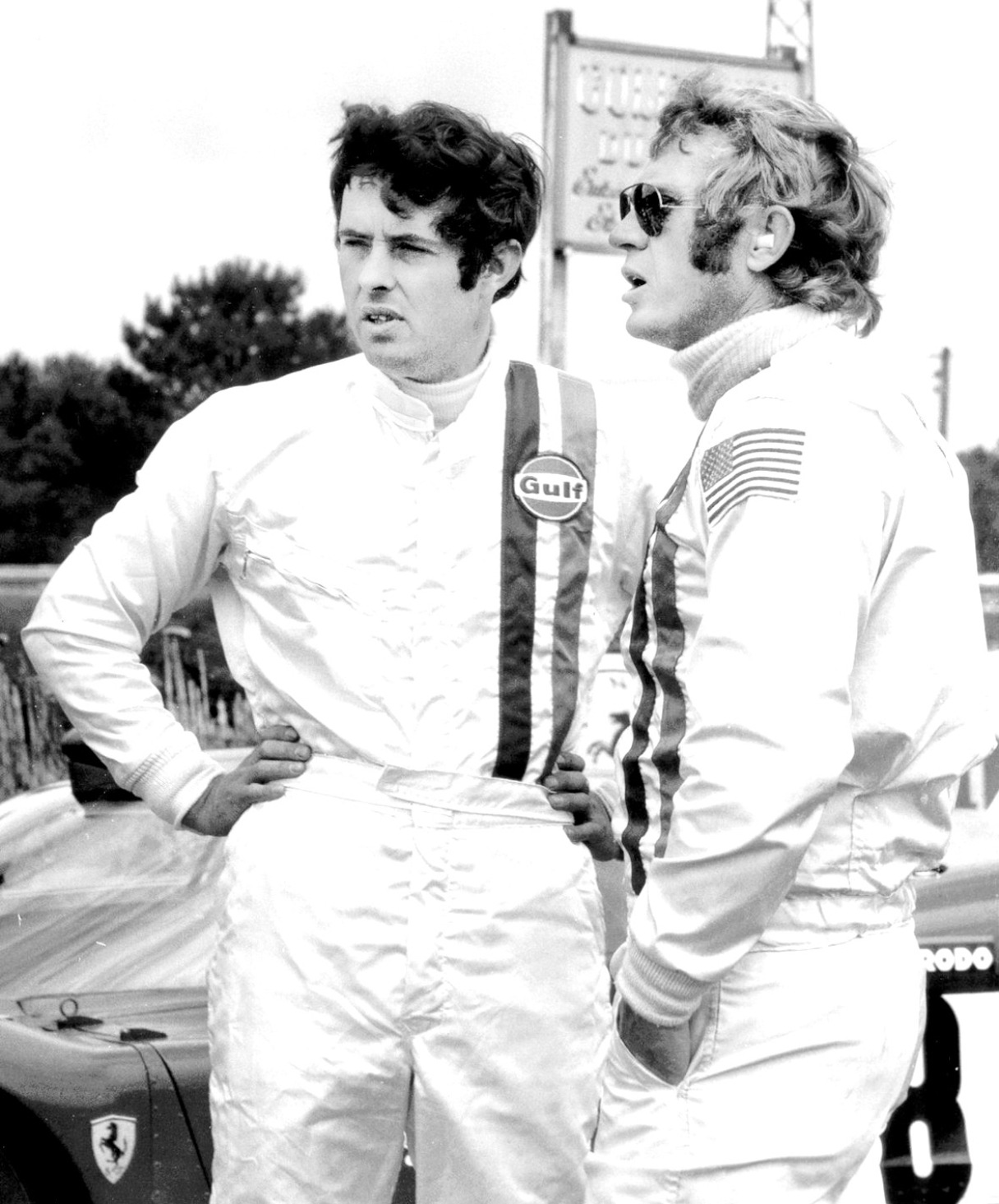 Brian Redman with Steve McQueen during filming of the movie 'Le Mans'